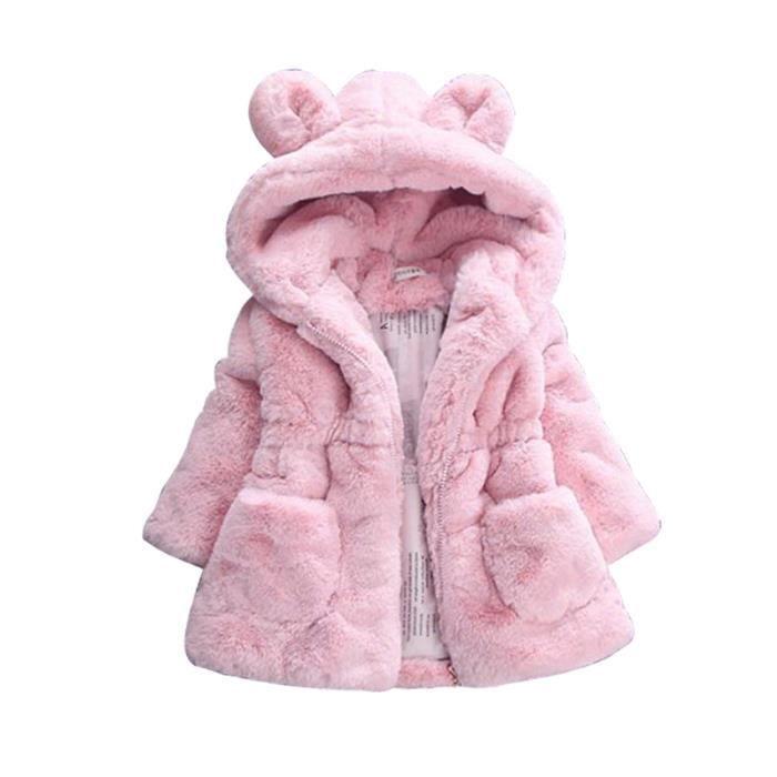 (Rose)filles hiver des enfants parkas chaud imprimé de fleurs à capuche  taille haute couleur un gros pull de poche b343b9a49b4