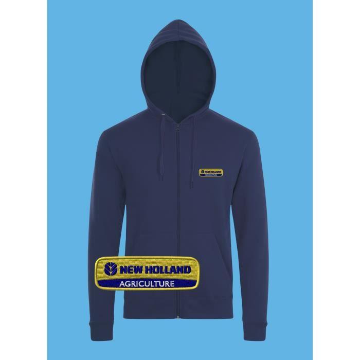 newest cbfcb b9219 New Holland Sweat Capuche Pull Zippé Logo Brodé Bleu Manches Longues  Sweatshirt Hoodie Veste Сadeau Ferme Tracteur Fête Homme Femme