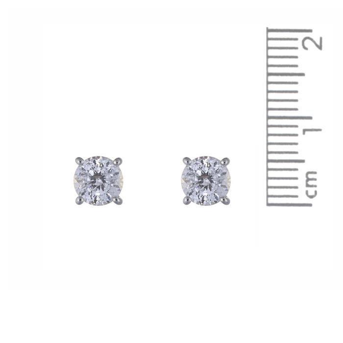 Or blanc 9 ct 1ct Finest 100 Cut Zircon ronde Boucles doreilles FLJW3