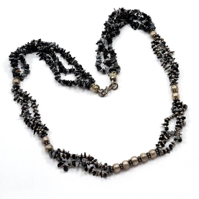 Womens Snowflake Obsidian Chips Necklace Pg-110516 JVRCC