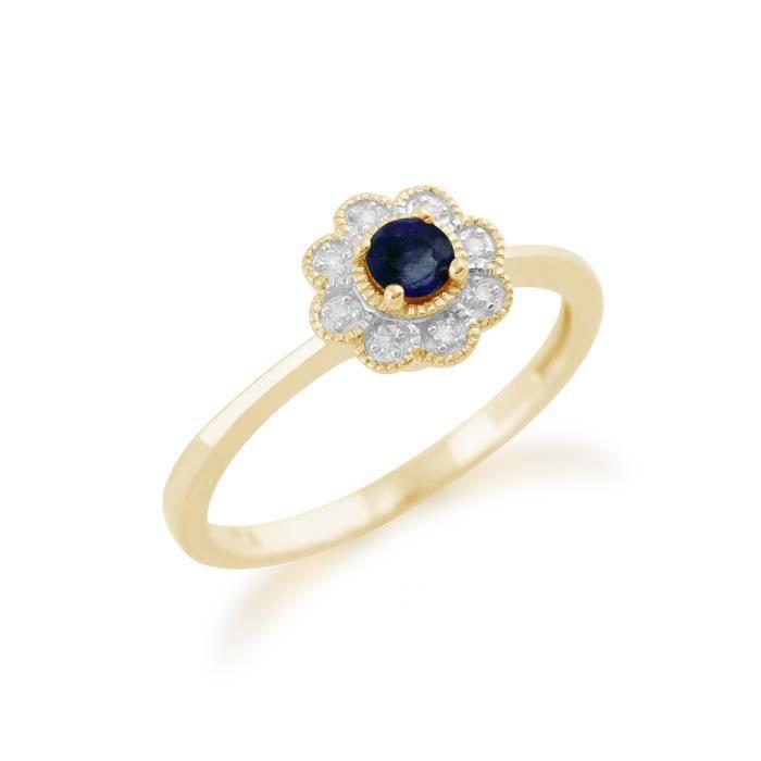 Gemondo Bague Or jaune 9 ct Saphir Bleu & Diamant