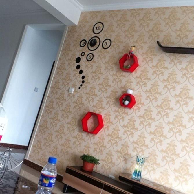 Cercles miroir noir horloge murale design moderne décoration maison ...