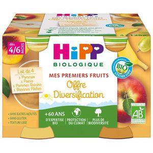 HIPP BIOLOGIQUE Mes premiers fruits 1xPomme 1xpoire 1xbanane-p?che 1xpomme-raisin - 4 x 125g - D?s 4/6 mois