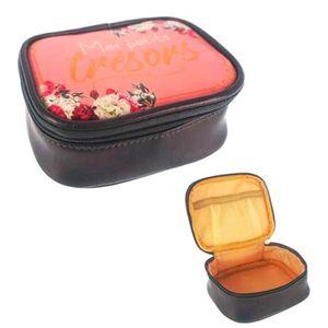 BOITE A BIJOUX Petite boite à bijoux de voyage 'Messages' noir ro