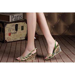SANDALE - NU-PIEDS Nouveau bohême feuille verte chaussures de mariage
