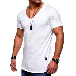 34f01d87ae6 T-SHIRT T shirt Homme col en v uni Tee shirt Hommes en cot