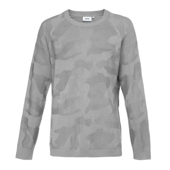 WESC Sweat-shirt Knitted Camo - Homme - Gris