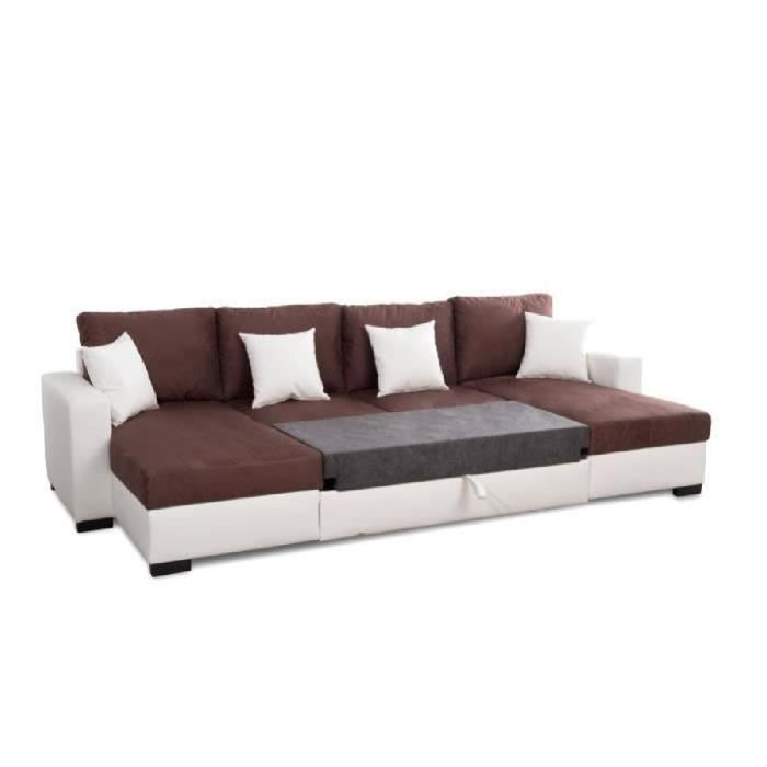 alma canap d 39 angle u convertible 5 places tissu marron. Black Bedroom Furniture Sets. Home Design Ideas