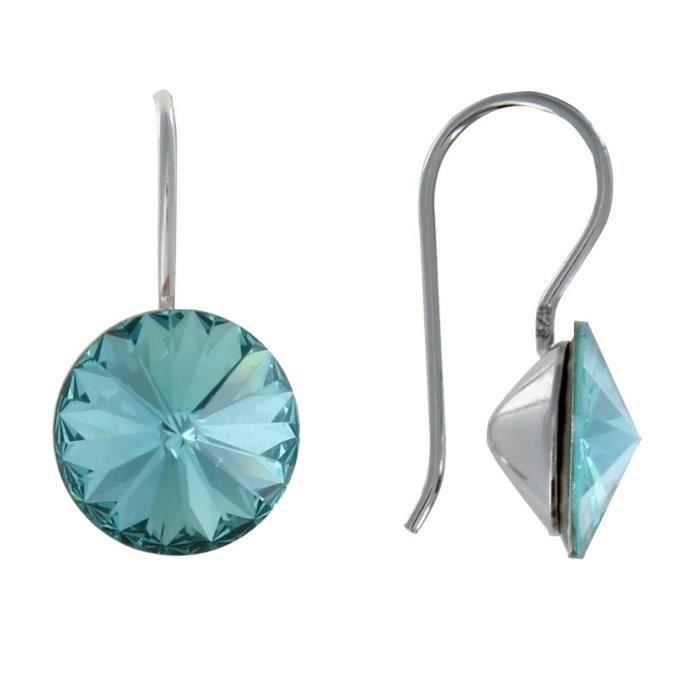Les Poulettes Bijoux - Boucles dOreilles Argent Swarovski Rond Cristal - Turquoise