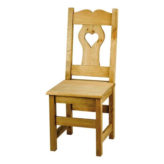 chaise rustique en pin avec gros coeur lot de 2 achat vente chaise pin bois cdiscount. Black Bedroom Furniture Sets. Home Design Ideas