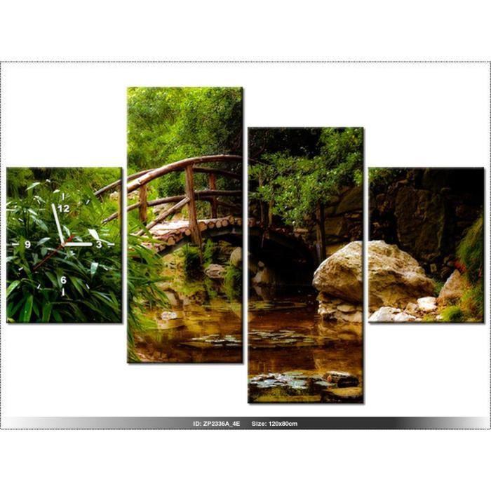 120 x 80 cm - PAYSAGE - JARDIN JAPONAIS - HORLOGE MURALE TABLEAU ...