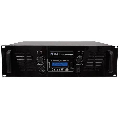 Ibiza Sound Amp1000usb-bt Amplificateur De Sonorisation Avec Bluetooth Usb - 2 X 800w Noir