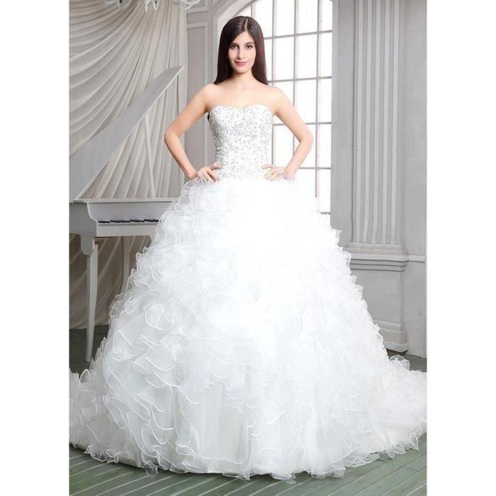 Robe De Mariage Longue Traine A Line Princesse Bustier En Cœur Sans Manche Haut Perle Jupe Multicouche A Volants Luxueux Blanc