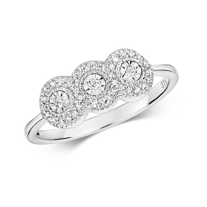 Bague Femme Trilogie Or Blanc 375-1000 et Diamant Brillant 0.06 Carat H - I1 I2 30475 GmM4t95EtG