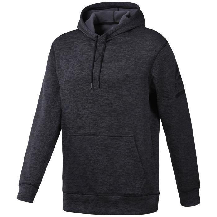 65bb3dcfd06a Sweatshirt à capuche Reebok Workout Ready Thermowarm Noir chiné ...
