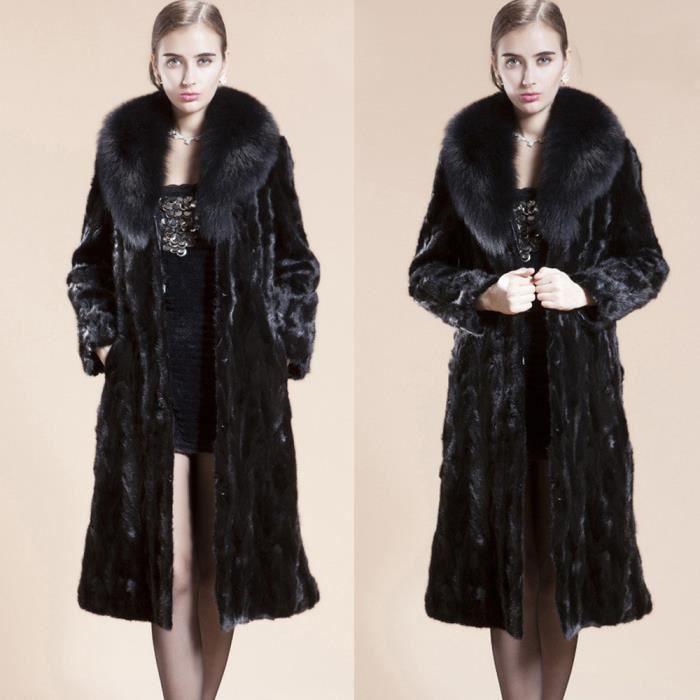 Mesdames Femmes manteau long chaud en fausse fourrure d hiver Parka Manteaux  Noir e8ca2ce2ad31