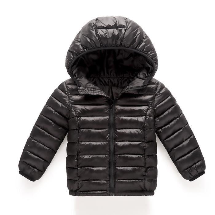 ba388fc7544f7 Doudoune Fille Bébé Fille Garçon Enfants Coton Manteau Veste à capuche  Automne Hiver chaud Vêtements enfants  Noir