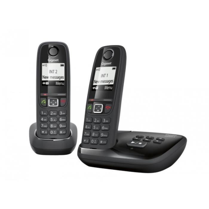 e7ed4391244f9a Téléphone Duo sans fil avec répondeur Siemens Gigaset AS405A Noir