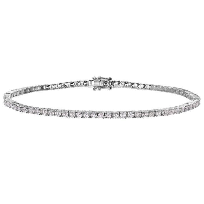 Revoni - Bracelet tennis en or blanc 18 carats, diamants 3 carats certifiés I-SI - REVCDPBC01875W