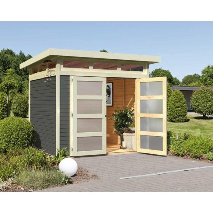 Abri de jardin à toit plat 4.90m² en bois massi… - Achat / Vente ...