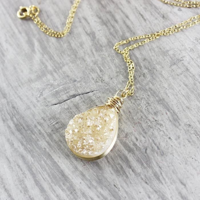 Womens Champagne Druzy 14kt Gold Filled Necklace - 16 Length G2HYW