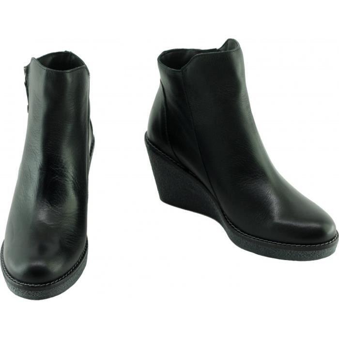 HIBOLBA - Bottines semelle compensée façon crêpe Chaussure femme boots chaude Marque Angelina cuir ciré noir