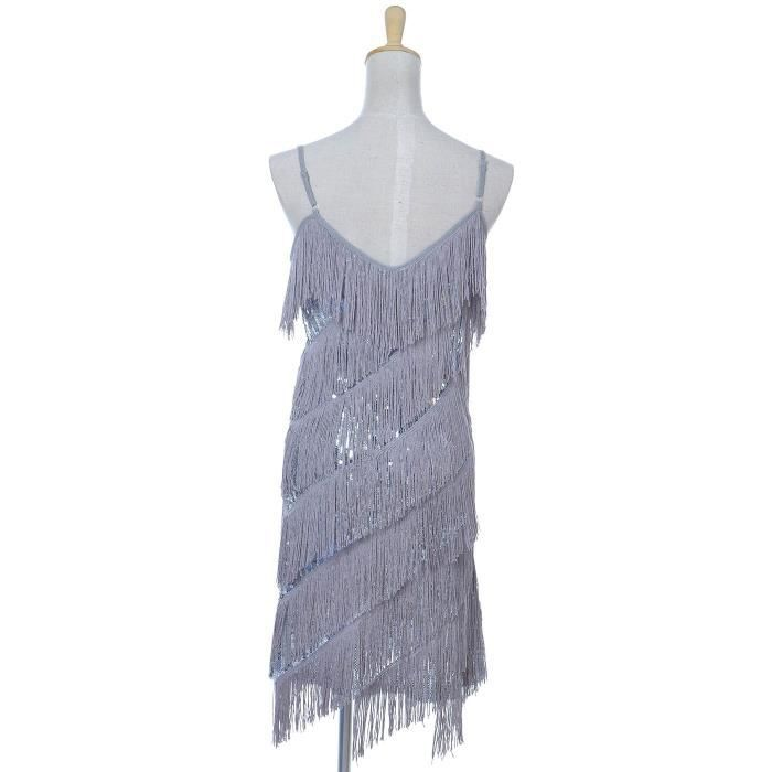 Womens Fringe Sequin Strap Backless 1920s Flapper Party Mini Dress 2MF367 Taille-34