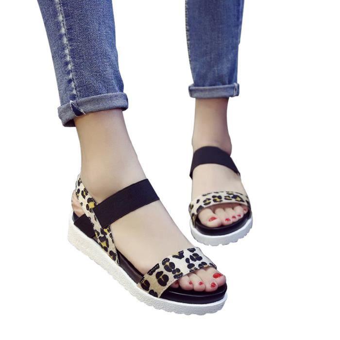 Épais Bande À Chaussures Élastique Plate Mode Léopard Plateforme Femmes Imprimé Marron De Sandales Fond nqfRXx6YFw