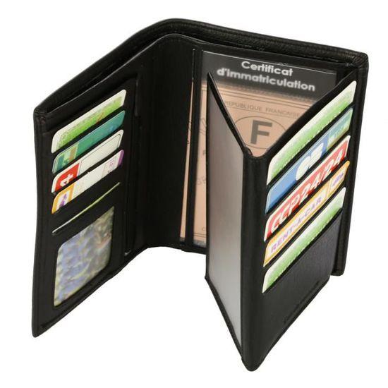 7ea5a3fc6fb Portefeuille Design pour homme en cuir noir N772 PACK cadeau parfait pour  Noël
