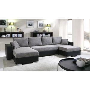 CANAPÉ - SOFA - DIVAN Grand canapé panoramique réversible ENNO gris et n