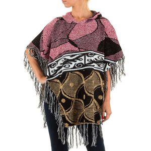 GILET - CARDIGAN femme gilet Jcl capuche s effranger poncho abe6d33d130