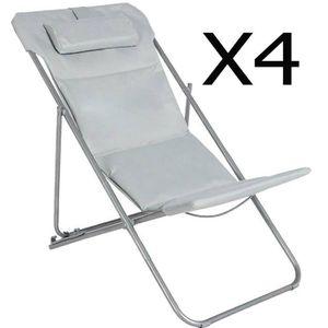 fauteuil jardin lot de 4 chiliennes en acier et polyester coloris - Chilienne Pas Cher