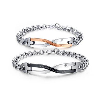 70caca54f61 2 Pièce Bracelets Femme Chaine Acier Inoxydable Gourmette Bracelet Homme  Meilleur Cadeau Pour Les Amoureux
