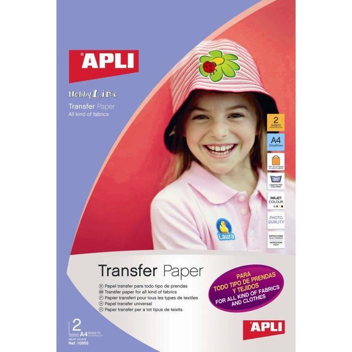 APLI Pochette de 3 Feuilles de Papier de transfert - Pour t-shirt tout textile