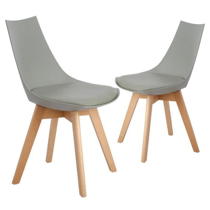 2 chaises salle manger design scandinave gris - Chaise Salle A Manger Design 2