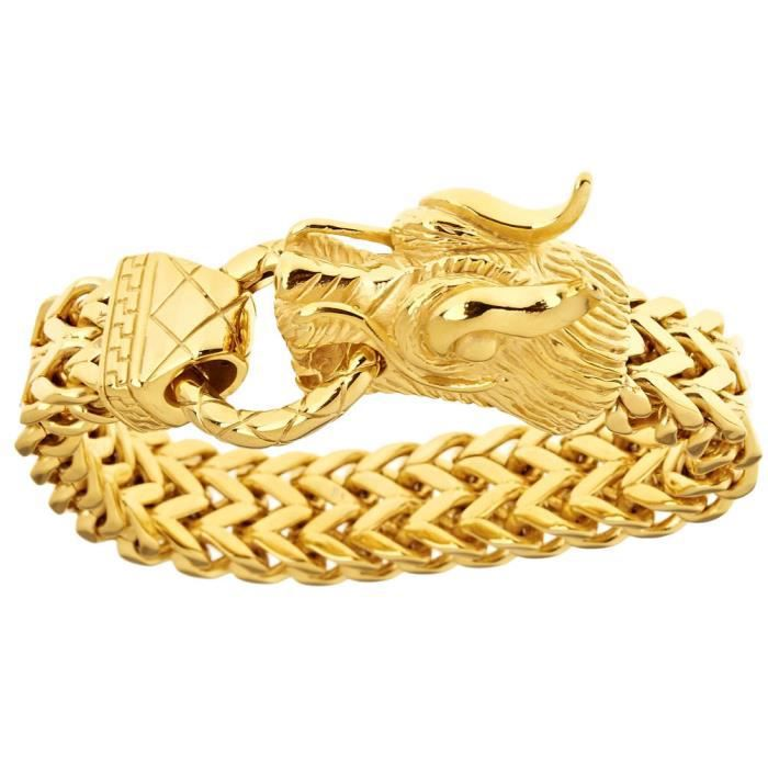 Iced Out Bling Acier Inoxydable Bracelet - DRAGON HEAD gold