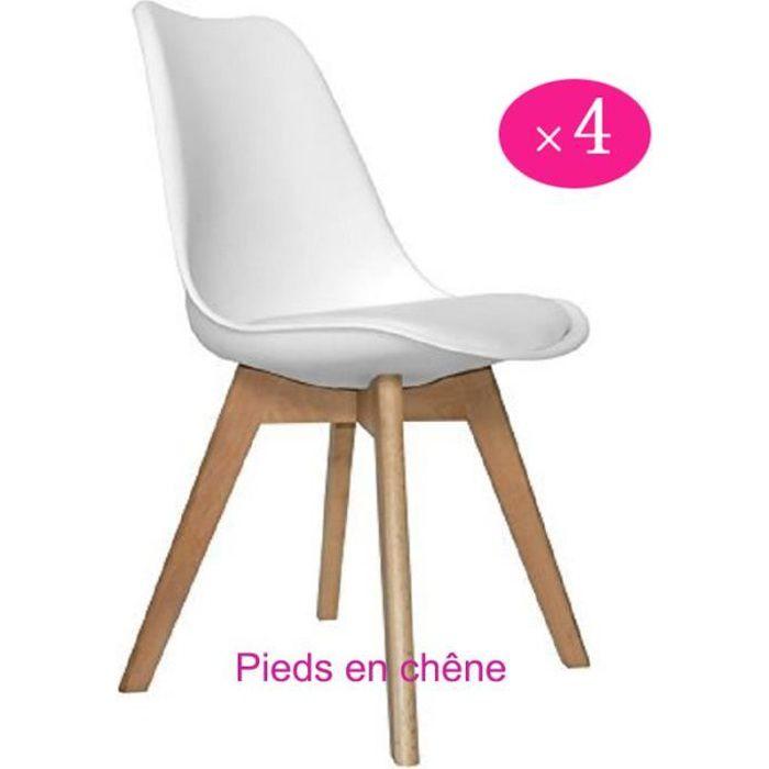 chaise lot de 4 chaises de cuisineen bois rtro tulip re - Chaise Scandinave Rembourree