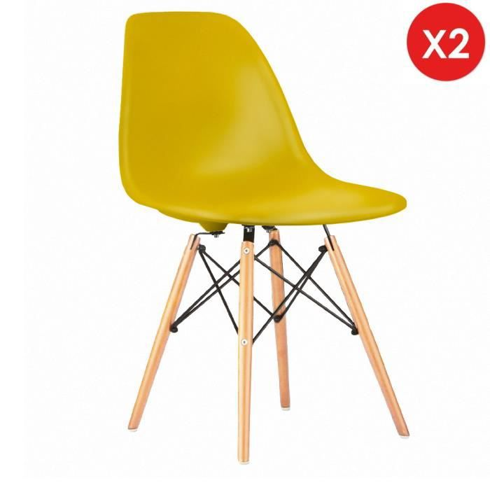 2 X Chaise Design Inspiration Eames DSW Bois Naturel Jaune Flash MobistylR