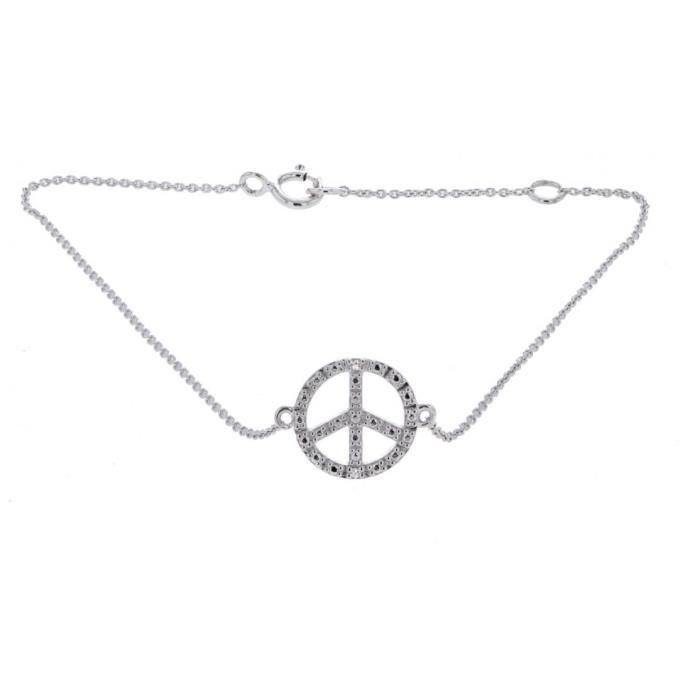Bracelet chaîne Peace and love diamants en Or blanc