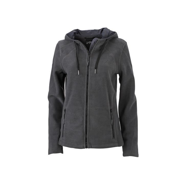 3cbef6990e3d4f Veste polaire zippée capuche contrastée FEMME JN997 - gris carbone ...