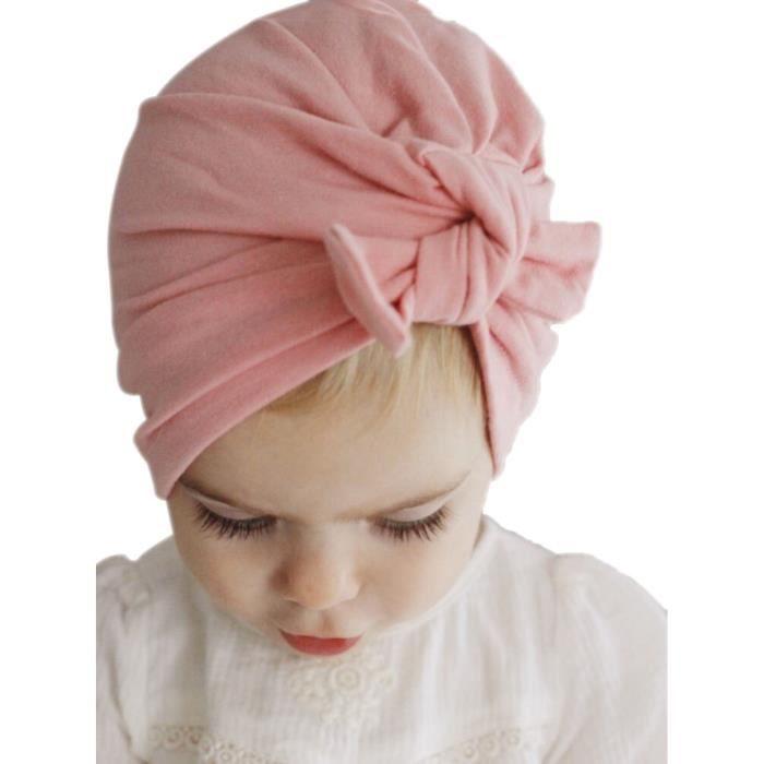 Bandeau Bonnet bébé naissance fille hiver Bonnet enfant garçon bébé Chapeau  bohême nœuds élastique Rose vintage indien 100% coton