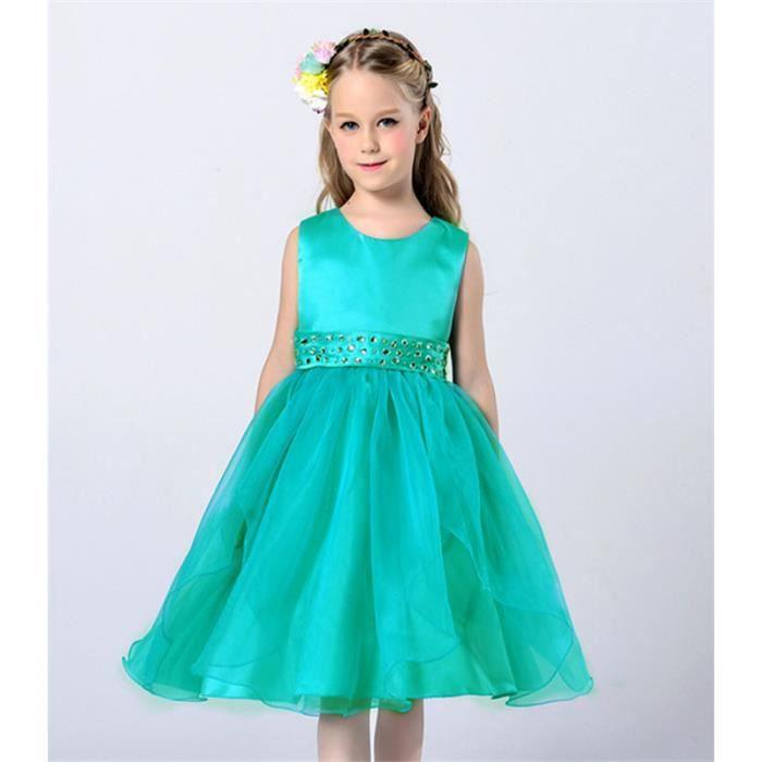 828855e6dcd Robe Vert de Princesse Fille Enfant Robe de Cérémonie Sans Manches Col Rond  Ange 2 à 12 ans