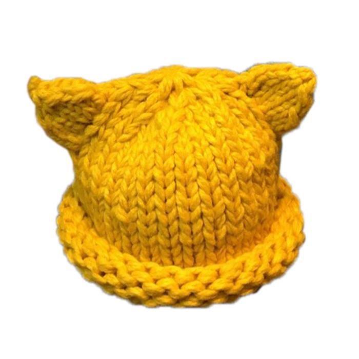 Bonnet Bébé Fille Garçon Chapeau Tricot Beanie ... Jaune - Achat ... c2d2538238a