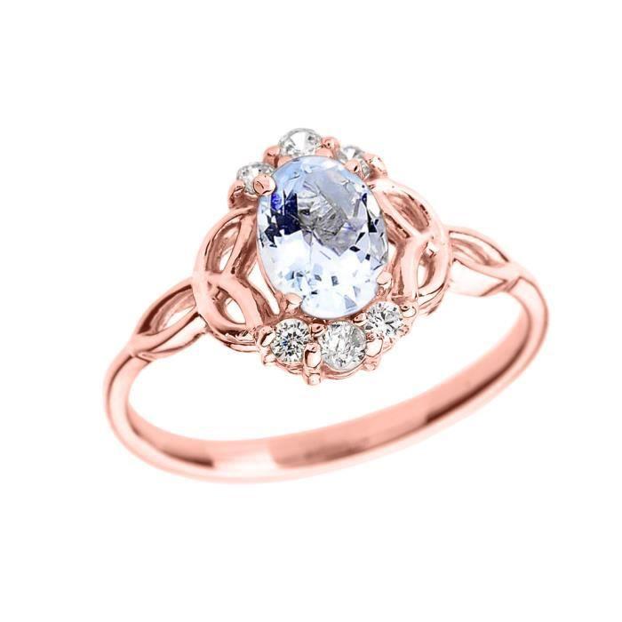 Bague Femme 14 Ct Or Rose Aquamarine Et Diamant Trinité Nœud