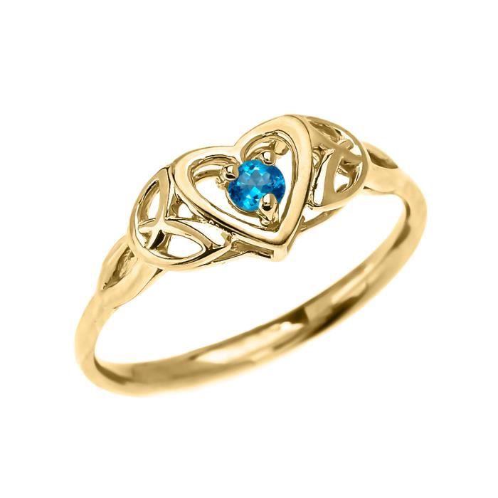 Bague Femme Trinité Nœud Cœur Solitaire Bleu Topaze 10 Ct Or Jaune