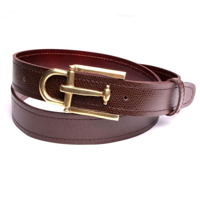 Ceinture hommes boucle luxe boucle couleur bronze cuir naturel marron largeur  4 cm made in France fabrication handmade. 4bf491bb2b7
