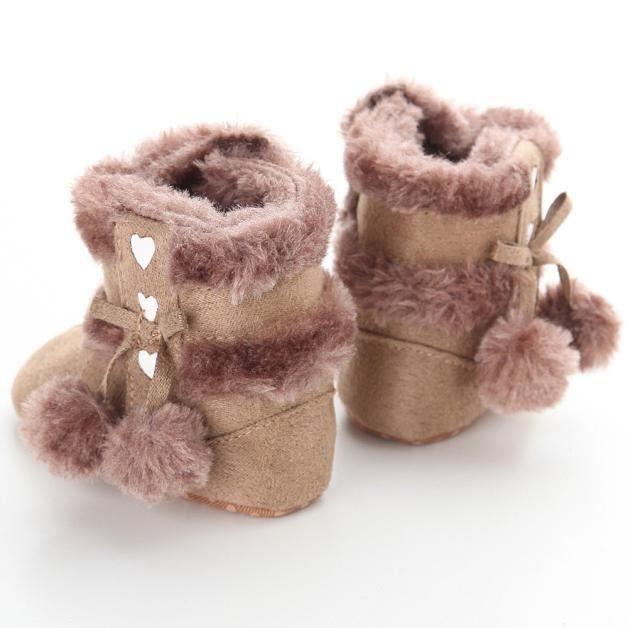 Bébé doux Sole Bottes de neige molle Crib Shoes Bottes Toddler kaki 11-12-13cm