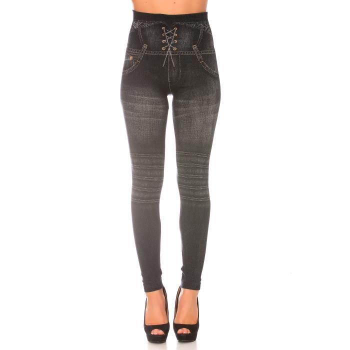 6610e388250c dmarkevous - Leggings minceur femme noir style jeans taille haute et effet  lien croisé. Effet Push-Up - (L-XL - noir)