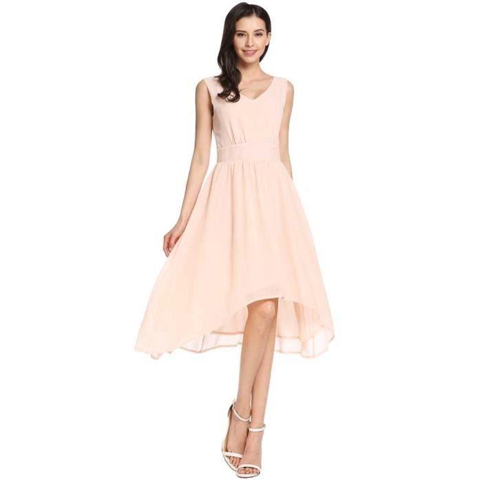 soie V Hem a Double élégante asymétrique ligne mousseline femme plissée Double en robe de cou qwBIaP0