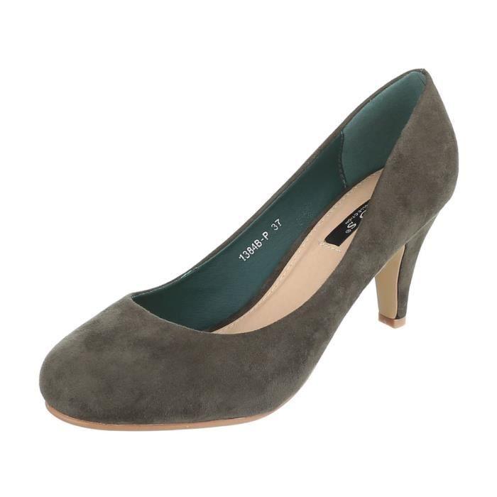 Escarpin vert Chaussures noir marron Olive Olive Clair 41 Femme Classique FRUTqZ